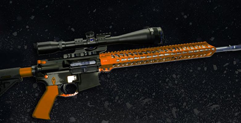 ORANGE ANODIZED AR-15 GUN PARTS