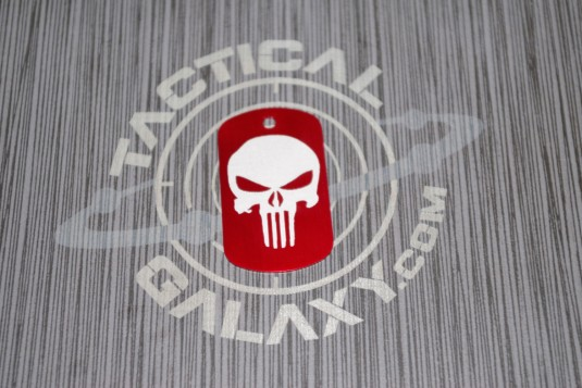 Military Style Aluminum Red Anodized Punisher Dog Tag
