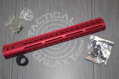 "AR15 15"" RED ANODIZED ULTRALIGHT SERIES KEYMOD HANDGUARD"