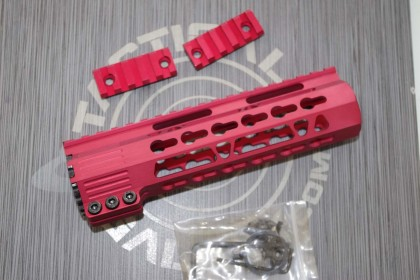 AR15 Red Anodized CLAMP-ON KEYMOD FREE FLOAT HAND GUARD