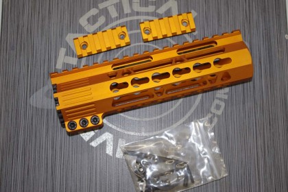 AR15 Orange Anodized CLAMP-ON KEYMOD FREE FLOAT HAND GUARD