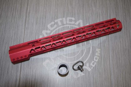 "AR-15 "" GEN 2 15"" AIR-LOK SERIES M-LOK COMPRESSION FREE FLOATING HANDGUARD RED ANODIZED"