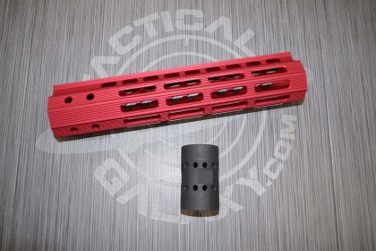"AR-15 9"" ULTRA LIGHTWEIGHT THIN M-LOK SYSTEM FREE FLOATING HANDGUARD RED ANODIZED"