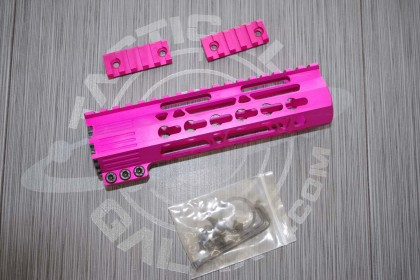 AR15 Pink Anodized CLAMP-ON KEYMOD FREE FLOAT HAND GUARD