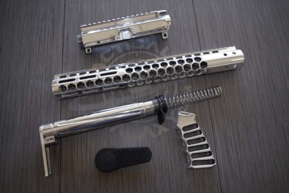 AR15 GEN 2 CHROME POLISH HONEYCOMB M-LOK SERIES COMPLETE KIT