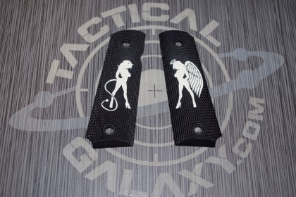 1911 FULL AND MIDSIZE GRIPS  ANGEL VS DEVIL GIRL ON BLACK GRIP