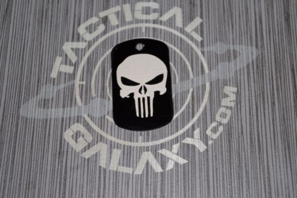 Military Style Aluminum Black Anodized Punisher Dog Tag