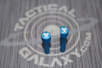 AR-15 Blue ANODIZE BIOHAZARD AR Pins