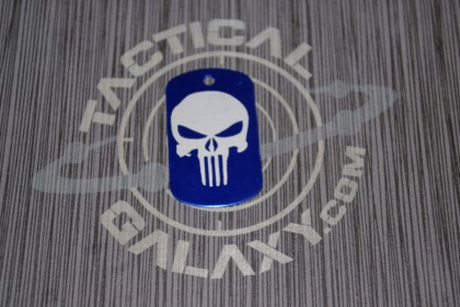 Military Style Aluminum Blue Anodized Punisher Dog Tag