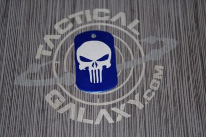Military Style Aluminum Blue Anodized Punisher Dog Tag