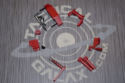 AR15 CRIMSON RED CERAKOTE 6 PIECE ENHANCED LOWER KIT