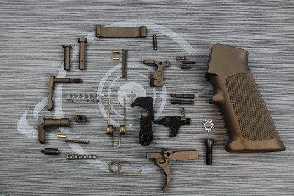 MIDNIGHT BRONZE Cerakote OEM complete mil-spec lower part kit with pistol grip ( LPK )