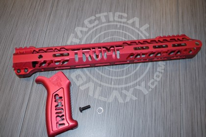 """LIMITED EDITION RED anodized TRUMP 15""""  handguard and pistol grip for AR15"""