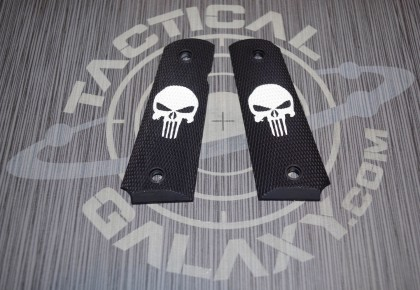 1911 BLACK CERAKOTE PUNISHER GRIPS