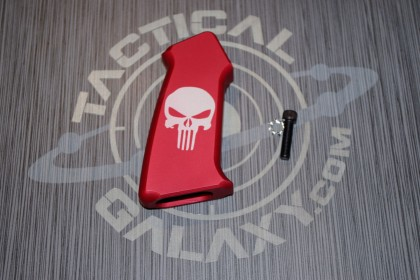 AR15 SLICK SIDE RED PUNISHER ANODIZED ALUMINUM PISTOL GRIP