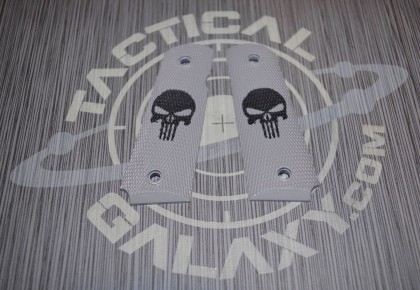 1911 STEEL GREY CERAKOTE PUNISHER GRIPS