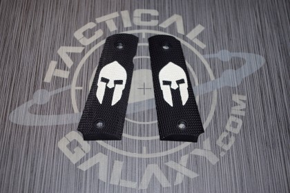 1911 FULL AND MIDSIZE GRIPS SPARTAN HELMET WHITE LOGO ON BLACK GRIP