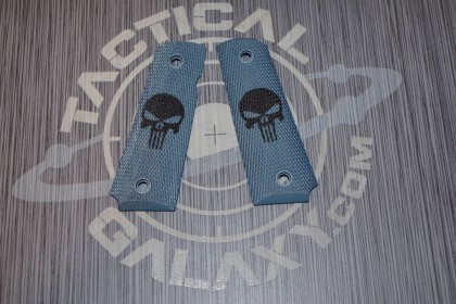 1911 TITANIUM BLUE CERAKOTE PUNISHER GRIPS