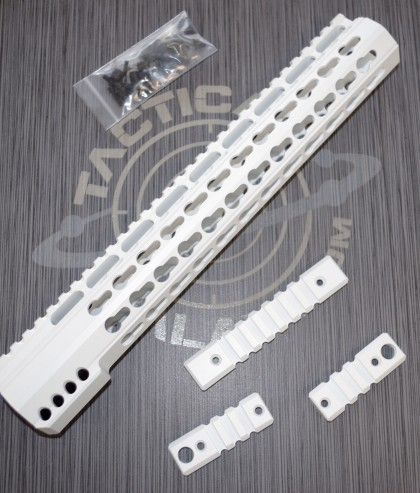 AR15 WHITE CERAKOTE ULTRA SLIM KEYMOD HAND GUARD 12""