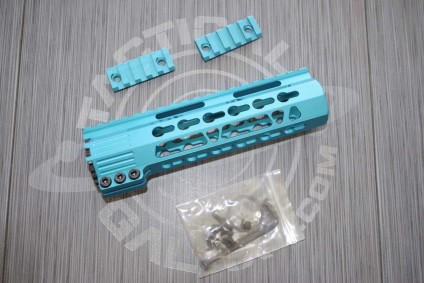 AR15 Teal Anodized CLAMP-ON KEYMOD FREE FLOAT HAND GUARD