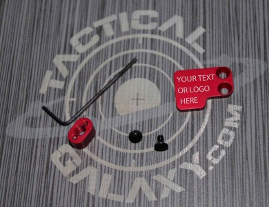 Red Anodized AR-15 2PC Oversized Magazine Extended Release Button  Custom Text