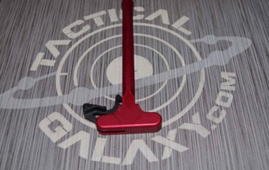 Red Anodized AR-15 charging handle with EXTENDED latch for ar15 CUSTOM TEXT OR LOGO
