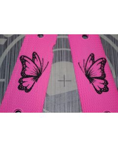 1911 FULL AND MIDSIZE GRIPS  BUTTERFLY ON PINK GRIP