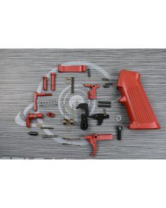 CRIMSON RED Cerakote OEM complete mil-spec lower part kit with pistol grip ( LPK )